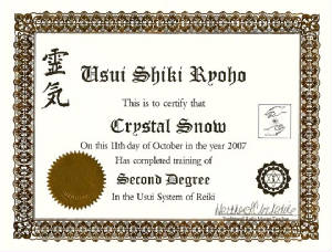Reiki Certificate - 2nd Degree
